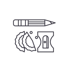 pencil and sharpener line icon concept pencil and vector image