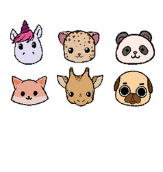 pixel animal face collection vector image