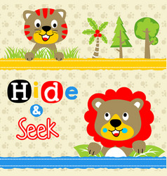 Playing hide and seek with funny animals tiger vector