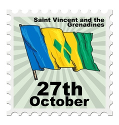 post stamp of national day of Saint Vincent and th vector image