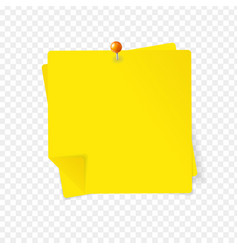 realistic detailed 3d yellow sticky note and pin vector image