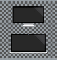 realistic tv and notebook screen vector image
