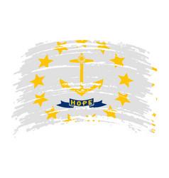 Rhode island flag in grunge brush stroke vector