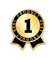 ribbon award best product gold ribbon award icon vector image