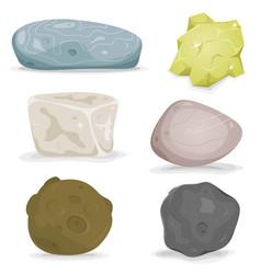 Rocks minerals and stones set vector