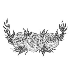 roses flower frame sketch engraving vector image