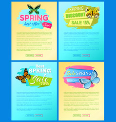 sale spring discount labels on web posters set vector image
