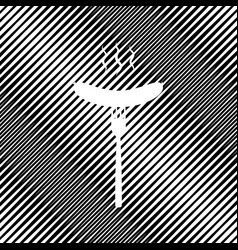 Sausage on fork sign icon hole in moire vector