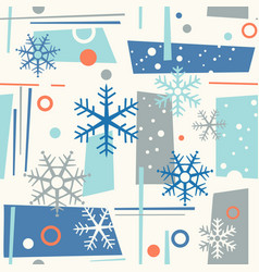 Seamless mid century modern winter pattern snow vector
