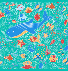 Seamless ornamental pattern with fish vector