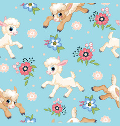 Seamless pattern cute little lambs and flowers vector