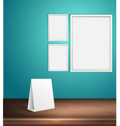set blank posters on a wall empty frame vector image