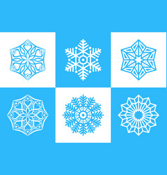 set of 6 isolated snowflakes six-pointed and vector image
