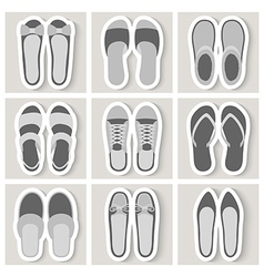 Set of nine woman shoes icons vector image
