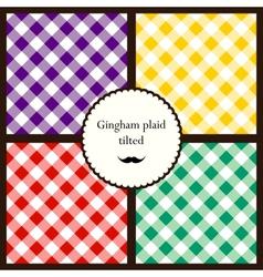 Set tilted gingham plaid patterns vector