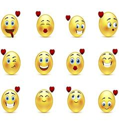 Set valentine of smilies vector
