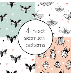set with 4 seamless patterns with insects vector image