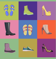 set women footwear summer and autumn nine icons vector image