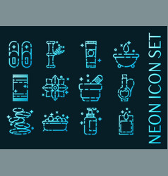 Spa set icons blue glowing neon style vector