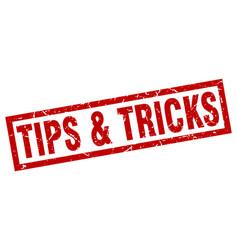square grunge red tips tricks stamp vector image