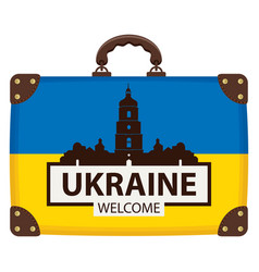 suitcase in colors ukraine flag vector image