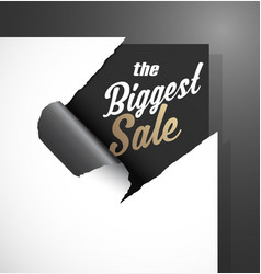 The biggest sale text uncovered from teared paper vector