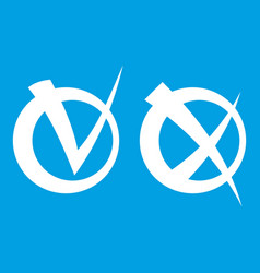 Tick and cross in circles icon white vector