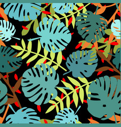 tile tropical pattern with exotic leaves on black vector image
