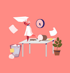 tiny businesswoman character on messy workplace vector image