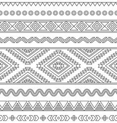Tribal seamless aztec stroke black pattern vector