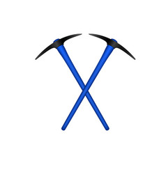 Two crossed mattocks in black design with handle vector