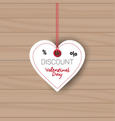 valentines day sale tag in shape of heart holiday vector image