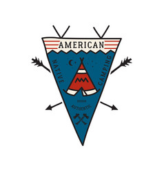 Vintage camping adventure pennant emblem vector