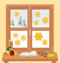 Winter window with Christmas candle and old book vector