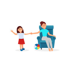 woman being tired with her daughter parenting vector image