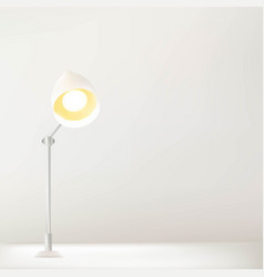 Working table and lamp with white wall vector