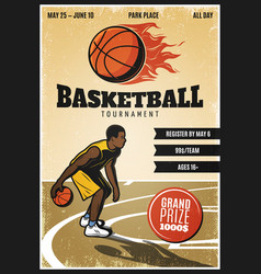 colored vintage basketball championship poster vector image