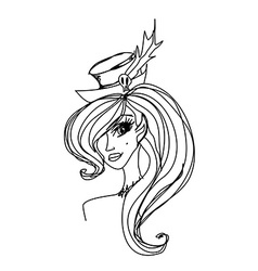 Halloween young beauty witch - doodle portrait vector image