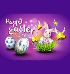 happy easter eggs bells and rabbit vector image