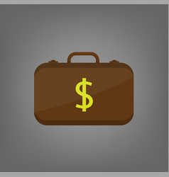 suitcase with dollar banknotes vector image