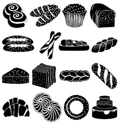 Bakery foods icons set vector image