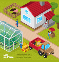 farm life daily activities isometric poster vector image vector image