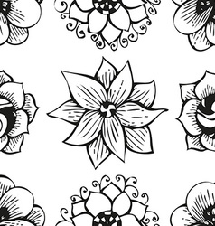 Floral doodling flower seamless pattern in tattoo vector image vector image