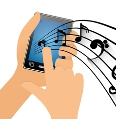 Hand touch mobile phone note music vector