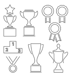 Set of award success and victory line icons vector image vector image