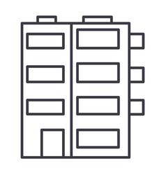 apartment building line icon sig vector image vector image