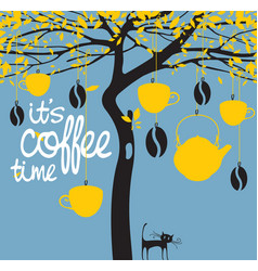banner for a coffee house with a picture of a tree vector image vector image