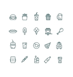 Fast food and snack thin line icons set vector image