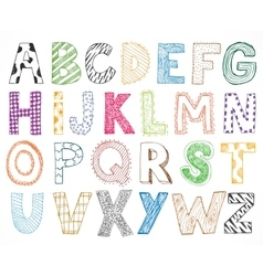 Children kids letter hand drawn cartoon alphabet vector image vector image