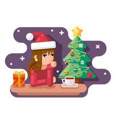 cute girl wating for new year chrismas tree santa vector image